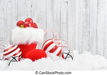 Santa, botas, rojo