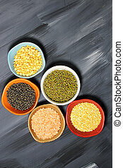 Indian lentil daal - Different kinds of Indian lentils in...