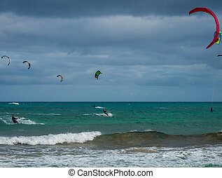 Kitesurfing on Fuerteventura Island, Spain.
