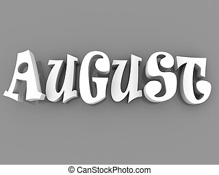 August sign with colour black and white. 3d paper illustration.