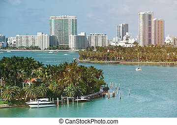 Skyline of Miami city at sunny day time. Pamorama of miami...