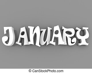 January sign with colour black and white. 3d paper illustration.
