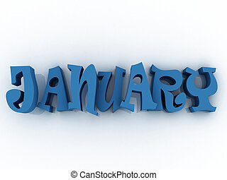 January sign with colour. 3d paper illustration.