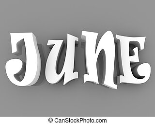 June sign with colour black and white. 3d paper illustration.