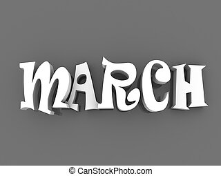 March sign with colour black and white. 3d paper illustration.