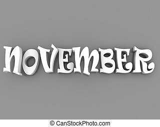 November sign with colour black and white. 3d paper illustration.