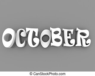 October sign with colour black and white. 3d paper illustration.