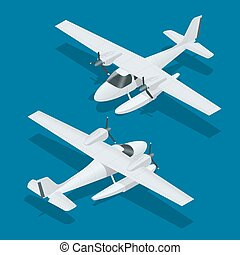 Isometric plane hydro aircraft. Air transportation...