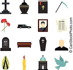 Funeral set flat icons - Funeral set icons in flat style...