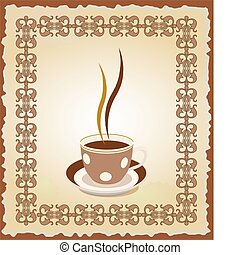 Illustration of cup of tea in the frame