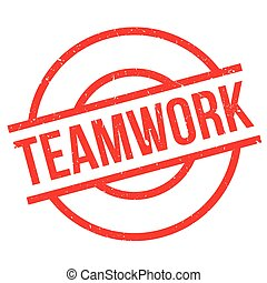 Teamwork rubber stamp. Grunge design with dust scratches....