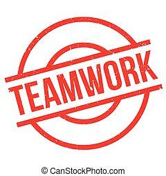 Teamwork rubber stamp. Grunge design with dust scratches....