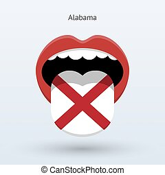Electoral vote of Alabama. Abstract mouth. Vector...