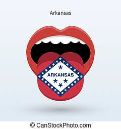 Electoral vote of Arkansas. Abstract mouth. Vector...