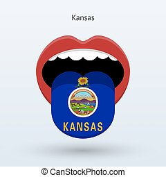 Electoral vote of Kansas. Abstract mouth. Vector...