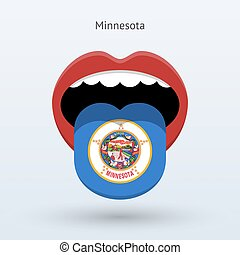 Electoral vote of Minnesota. Abstract mouth. Vector...