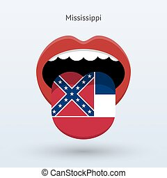 Electoral vote of Mississippi. Abstract mouth. Vector...