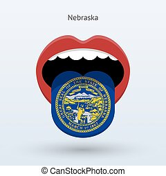 Electoral vote of Nebraska. Abstract mouth. Vector...