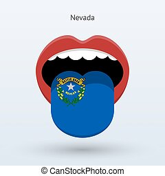 Electoral vote of Nevada. Abstract mouth. Vector...