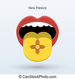 Electoral vote of New Mexico. Abstract mouth. Vector...
