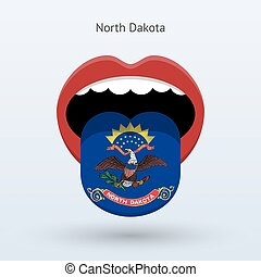 Electoral vote of North Dakota. Abstract mouth. Vector...
