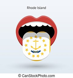 Electoral vote of Rhode Island. Abstract mouth. Vector...