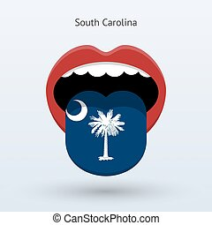 Electoral vote of South Carolina. Abstract mouth. Vector...