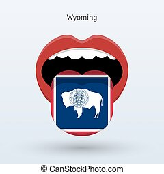 Electoral vote of Wyoming. Abstract mouth. Vector...