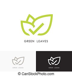 Green leaves with check mark logo - Green leaves logo -...