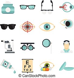 Ophthalmologist tools set flat icons - Ophthalmologist tools...