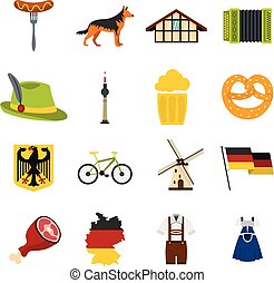 Germany set flat icons - Germany set icons in flat style...