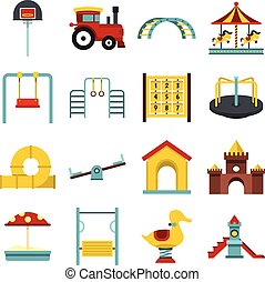 Playground set flat icons - Playground set icons in flat...
