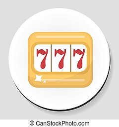The one-armed bandit sticker icon flat style. Vector illustration.