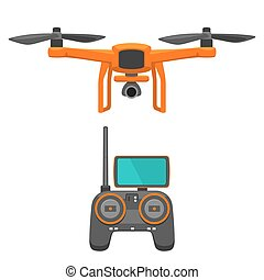 Aerial Drone with remote control. Vector flat