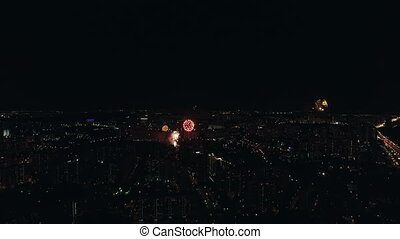 Moscow celebrating Victory Day with fireworks - Aerial -...