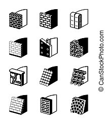 Reinforcing walls in construction - vector illustration