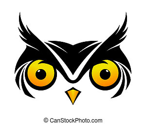 Cool Owl Symbol - Black owl symbol cool vector logo