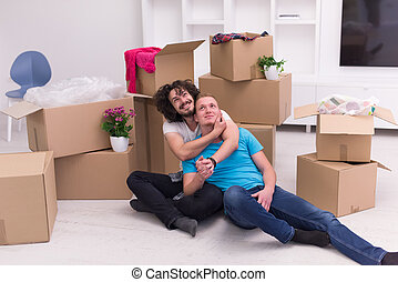 young  gay couple moving  in new house