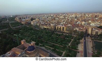 Valencia aerial city view, Spain - Aerial panorama of...