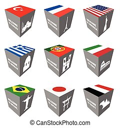 flag and ancient monuments on cube illustration