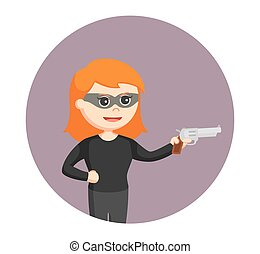 woman thief with handgun in circle background