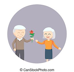 old man giving rose flower to old woman in circle background
