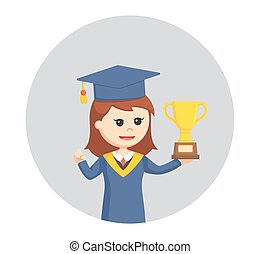 graduate female student with trophy in circle background