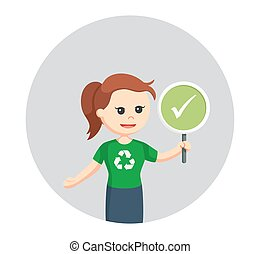 woman environmental activist with checklist sign in circle...