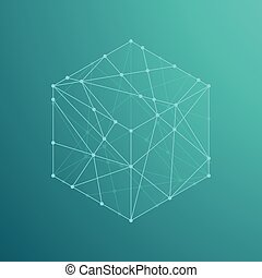 Cube boxe isometric icon illustration, dot outline stroke...