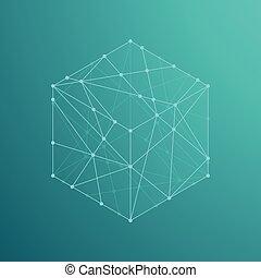 Cube boxe isometric icon illustration, dot outline stroke...