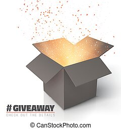 Giveaway Competition Template Open Box - Illustration of...