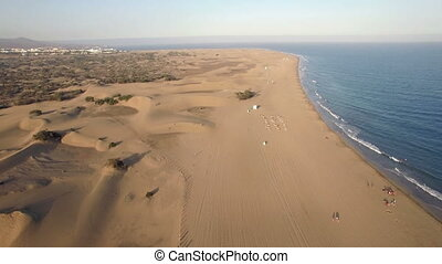 Sandy landscape and blue ocean of Gran Canaria - Aerial view...