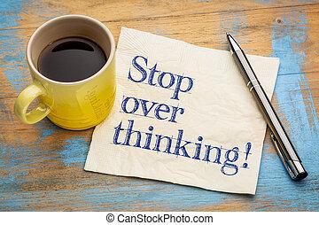 stop overthinking reminder on napkin