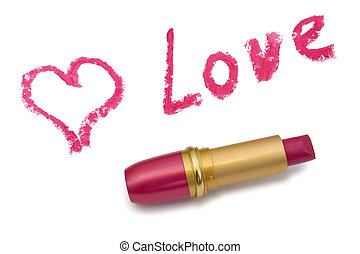 Word Love, heart and lipstick, isolated on white background